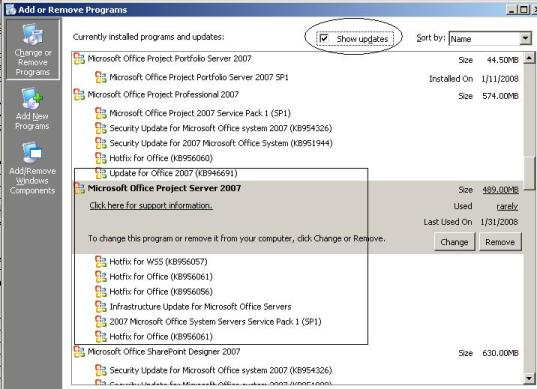 How to check the installed version of Project Server 2007